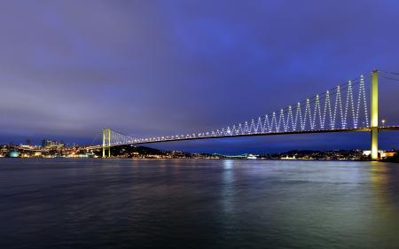 Фото вечер, мост, город, река