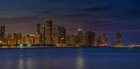 Фотографии Chicago, город, панорамма, ночь