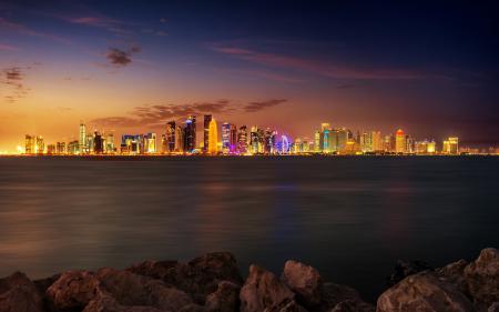 Обои город, ночь, панорамма, огни