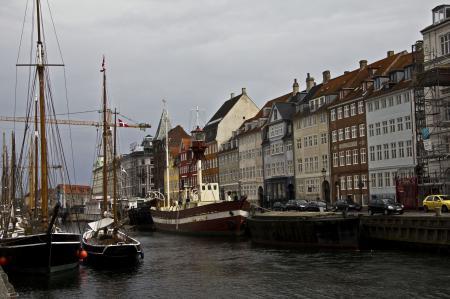 Обои Копенгаген, дома, причал, лодки