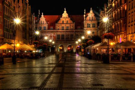 Фото Польша, дома, Gdansk, ночь