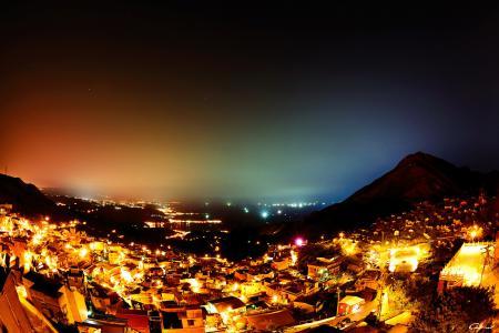 Заставки ночь, огни, город, холмы