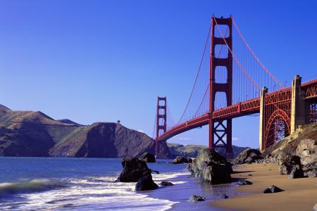 Обои Мост, океан, Калифорния, волны