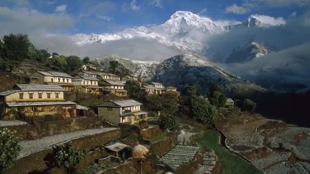 Заставки Ghangdrung village, Непал, горы, дома