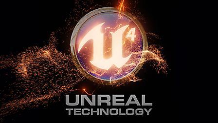 Заставки Unreal engine 4, эмблема, надпись, пламя