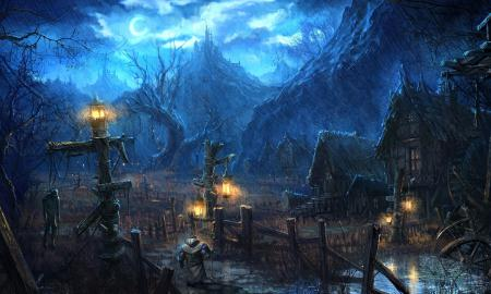 Картинки tera online, деревня, ночь, дождь