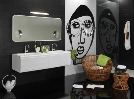 Заставки ванная комната, ванна, черный, белый