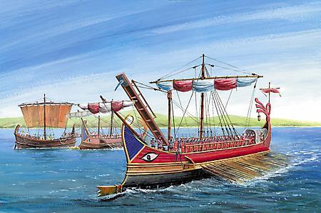 Картинки римская трирема, боевой корабль, империя, три ряда весел