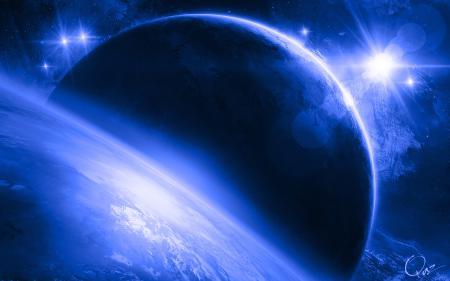 Картинки Планеты, космос, сияние, звёзды