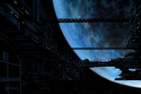 Обои арт, космос, планета, корабль