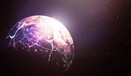 Обои арт, космос, планета, звезды