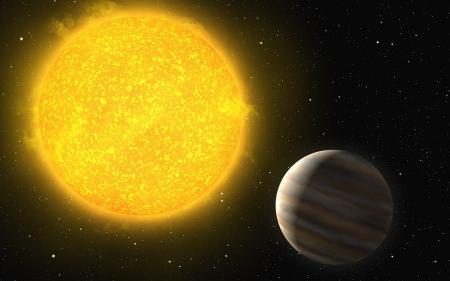 Обои звезда, большая, желтая, планета