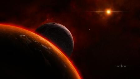 Обои universe, planet, satellite, star
