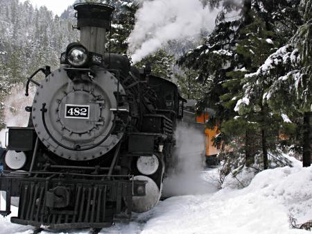 Фото Steam train, winter in highlands, паровоз, движение