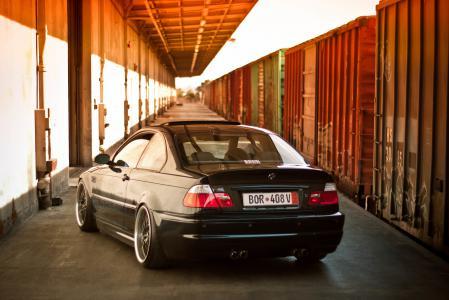 Обои BMW, m3, E46, black
