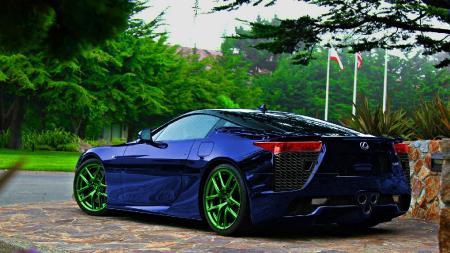 Фото спортивный лексус, крутая машина, синий цвет, ядовитые диски
