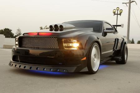 Заставки спорткар, Ford mustang, черный автомобиль, неоновый свет
