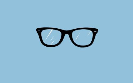Обои очки для зрения, черная оправа, голубой фон, дужек нет