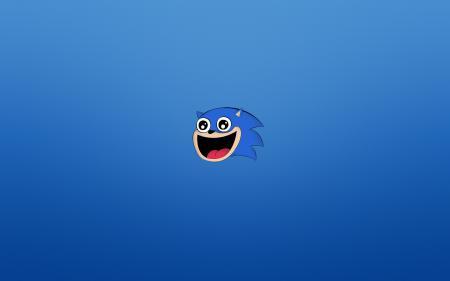 Обои Sonic, соник, синий фон, счастливая морда