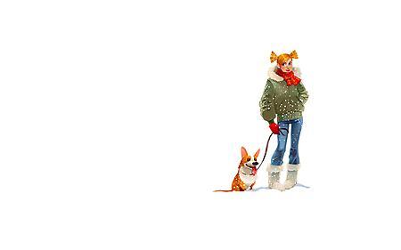 Заставки веселая собачка, высунутый язык, девушка с косичками, желтые волосы