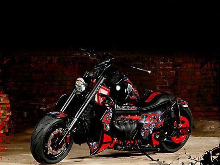 Обои Мотоцикл boss hoss, черно, красный, аэрография