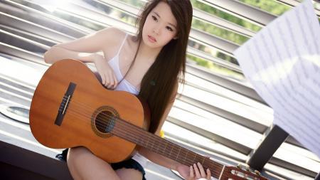 Фотографии девушка, гитара, музыка