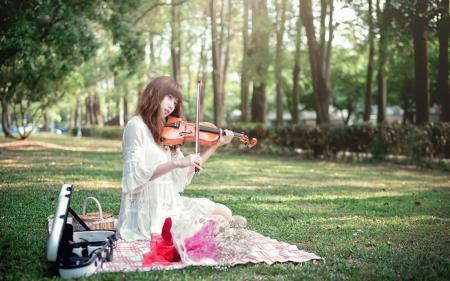 Заставки девушка, азиатка, скрипка, музыка