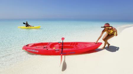 Заставки Море, берег, песок, лодка