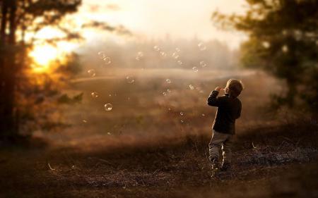 Заставки настроения, мыльные пузыри, дети, мальчик