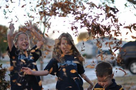 Обои настроения, дети, девочка, листья