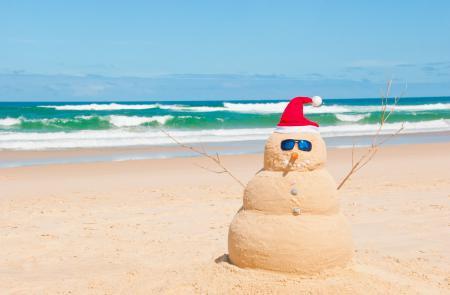 Обои настроения, лето, пляж, снеговик