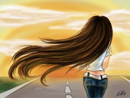 Обои настроение, девушка, спина, арт