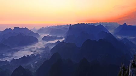 Картинки закат, горы, природа, пейзаж
