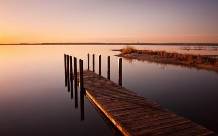 Картинки озеро, закат, мост, пейзаж