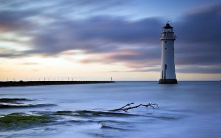 Картинки море, маяк, ночь, пейзаж