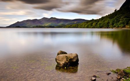 Заставки озеро, камень, пейзаж
