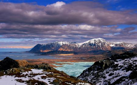 Обои горы, скалы, снег, море