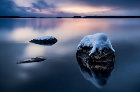 Фото море, залив, гладь, камни