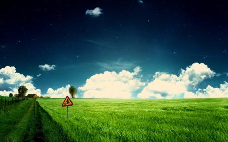 Заставки поле, дорога, знак