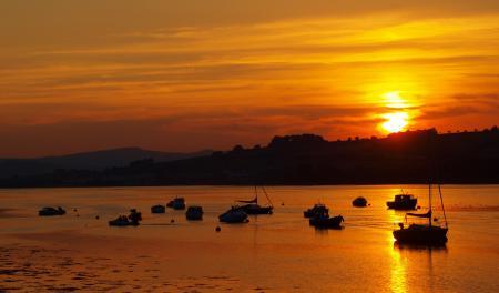Фотографии закат, море, вода, лодки