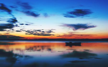 Картинки sunset, озеро, небо