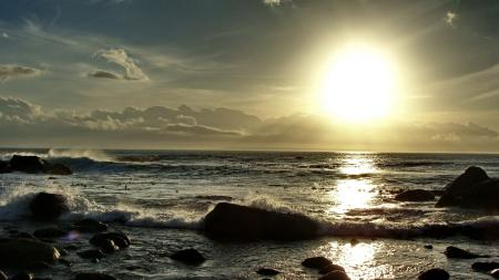 Картинки пейзаж, солнце пляж прилив