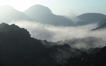 Фото утро, горы, туман, дымка