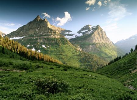 Картинки горы, утро, зелень, склоны