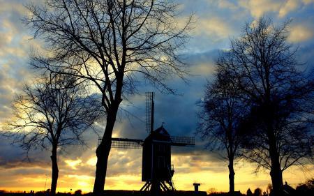Заставки закат, солнце, мельница