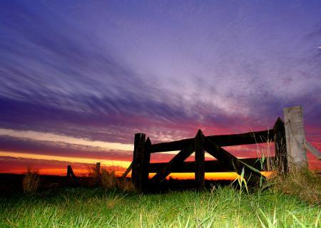 Картинки закат, небо, трава