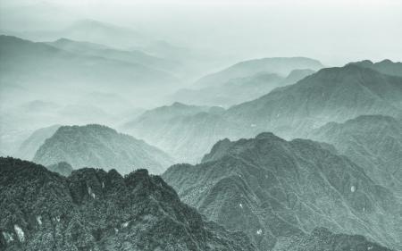 Фото горы, китай, деревья, туман