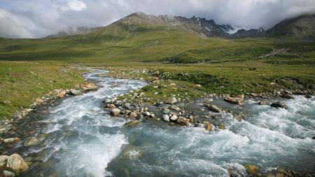 Фото горы, ручей, вода, природа