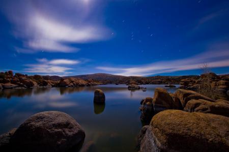 Заставки вечер, ночь, озеро, камни