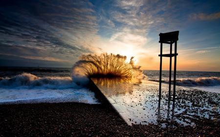 Заставки Волны, Море, Пляж, Закат